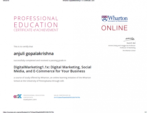 Wharton Digital Marketing 1.1x