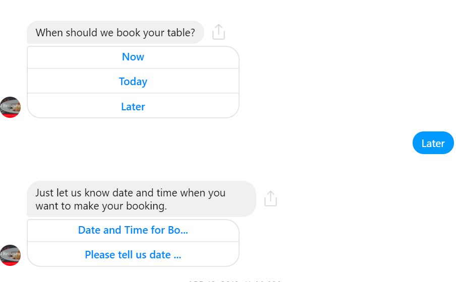 FB Messenger Chatbot for making a booking