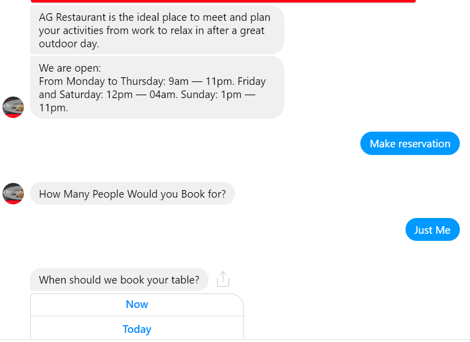 Restaurant Booking via a chatbot