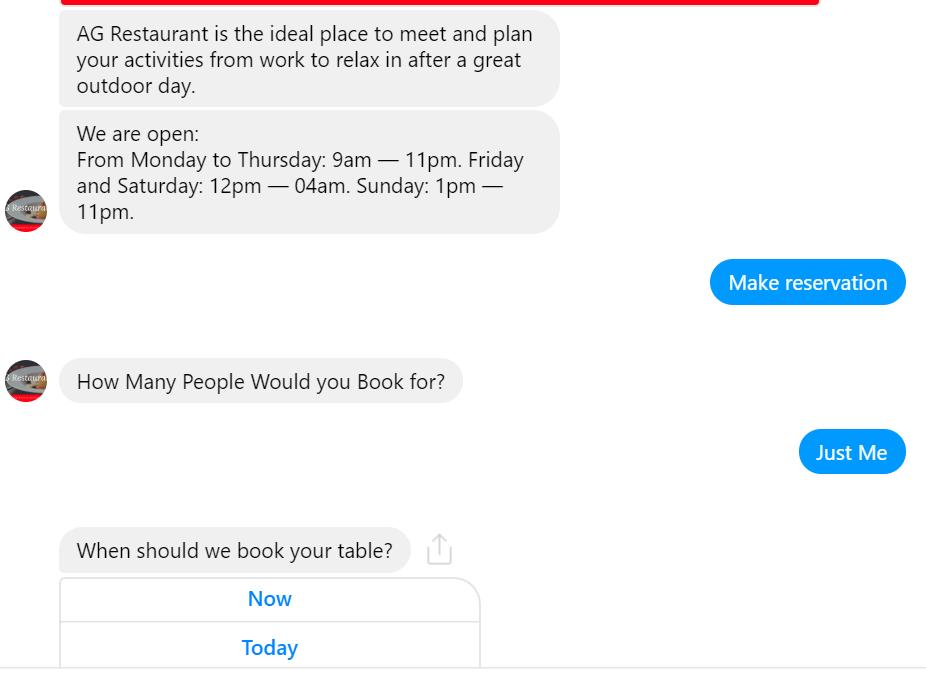 Restaurant Booking via a chatbot
