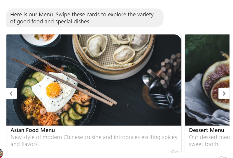 Facebook Messenger Chatbot for sharing Restaurant Menu