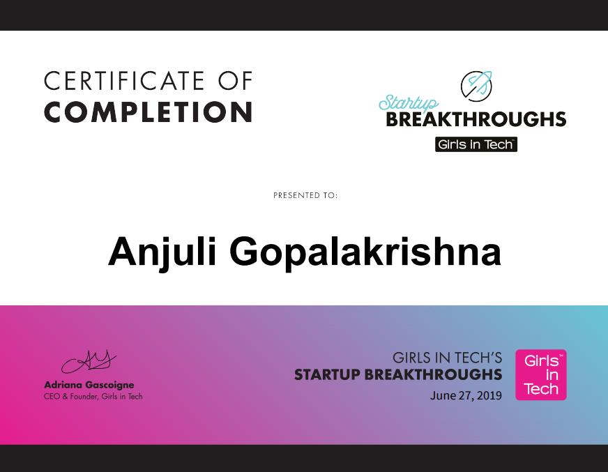 Girls In Tech Startup Breakthrough Certification