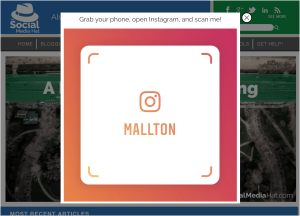 Instagram Name Tag as an exit pop up on website